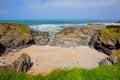 Newtrain Bay North Cornwall uk sand and rocks view to sea Royalty Free Stock Photo