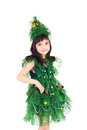 Newyear tree girl pretty little in the costume of the Stock Photo