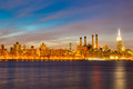 Newyork mid town at dusk from brooklyn Royalty Free Stock Images