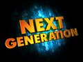 Next generation concept on digital background golden color text dark blue Stock Images