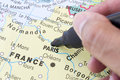 Next holiday destination in paris marking on a map Stock Photography