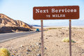 Next service death valley usa streetsight useful for travel concept Royalty Free Stock Photos