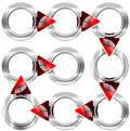 Next step round metal box with red arrows nine modular circular boxes and Stock Images