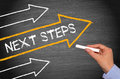 Next Steps - chalkboard with arrows and text Royalty Free Stock Photo