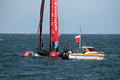Nez zeland ac new catamaran in action in the america s cup world series of naples in italy Stock Photos