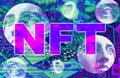 NFT Non fungible token. Crypto art concept. Technology selling unique collectibles, games characters, blockchain assets Royalty Free Stock Photo