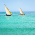 Ngalawa boats typical Zanzibar Royalty Free Stock Photo