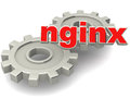 Nginx server technology is an alternate to apache text and gears on white Stock Photo