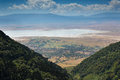 Ngorongoro conservation area landscape of the from the crater rim Royalty Free Stock Photo