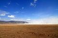 Ngorongoro Crater Landscape dust cloud Royalty Free Stock Photo