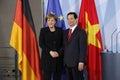 Nguyen Tan Dung, Angela Merkel Royalty Free Stock Photo