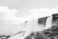 Niagara falls in black and white the american bridal veil of the taken from a boat Royalty Free Stock Photo
