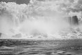 Niagara falls in black and white the american of the taken from a boat Stock Photography