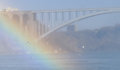 NIAGARA FALLS, CANADA - NOVEMBER 13th 2016: Rainbow bridge conne Royalty Free Stock Photo