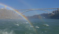 NIAGARA FALLS, CANADA - NOVEMBER 13th 2016: Rainbow bridge conne Royalty Free Stock Photo