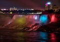 Niagara falls nighttime panorama a panoramic view of the american side of the illuminated by multicolored floodlights from the Royalty Free Stock Images