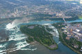 Niagara falls in overcast day flying above Royalty Free Stock Photo