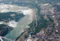 Niagara falls in overcast day flying above Royalty Free Stock Photography