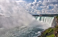 Niagara horseshoe falls panorama a panoramic view of the part of the in ontario canada Stock Images