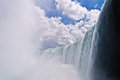 Niagara horseshoe falls a view of the falling water at the base of the part of the in ontario canada Stock Photo