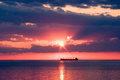 Niagara on the lake ship in sunset passing through beautiful over ontario taken Stock Image