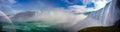 Niagara panorama canadian falls with a rainbow Stock Images