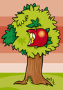 Nibbled apple on tree cartoon illustration of with fruit Royalty Free Stock Images