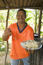 Nicaragua man seafood rundown food Royalty Free Stock Photos