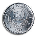 Nicaraguan coin, white background. Royalty Free Stock Images