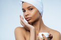 Nice attractive woman wearing a towel turban