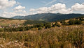 Nice autumn landscape with male borove village and tatry mountains meadows forest in slovakia Royalty Free Stock Images