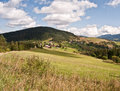 Nice autumn landscape near Velke Borove with meadows, countryside and hills Royalty Free Stock Photo