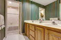 Nice bathroom in green tones with cabinets, double sink and tile floor. Royalty Free Stock Photo