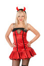 Nice blonde is wearing a devil costume Royalty Free Stock Photo