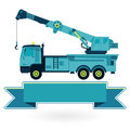 Nice blue big crane with hook and arm on white construction machinery vehicle flatten illustration master vector icon equipment Royalty Free Stock Images