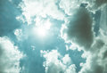 Nice blue sky with sun beam with cloudy,Hope ray. Royalty Free Stock Photo