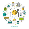 Nice Breakfast in Hotel - Line concept Royalty Free Stock Photo