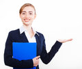 Nice business  woman shows on your advertisement Royalty Free Stock Photography