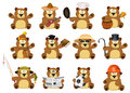 Nice cartoon set of bears in different variations isolated on white Stock Image