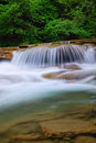 Nice cascade of the stream in park with little waterfalls Stock Photography