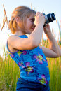 Nice caucasian girl taking picture Stock Photography