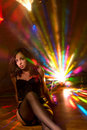 Nice caucasian model lightened by disco light Stock Photos