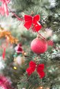 Nice christmas tree with red ball and bows green Stock Photos