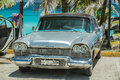 Nice closeup view of classic, retro vintage car Royalty Free Stock Photo