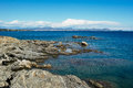 Nice coast rocks and water in mediterranean sea on french riviera Royalty Free Stock Photo