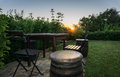 Nice corner in backyard beautiful during sunset Royalty Free Stock Photos