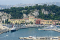 Nice cote d azur alpes maritimes provence alpes france panoramic view over the harbor Royalty Free Stock Photo
