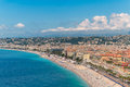 Nice on the cote dazur looking across beach and promenade des anglais Royalty Free Stock Photos