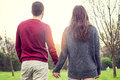 Nice couple boyfriends relaxes walking Royalty Free Stock Photo