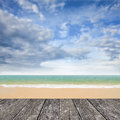 Nice deck at beach with sea and bluesky background Stock Photography